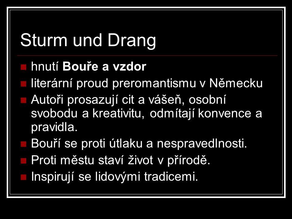 Představitelé Sturm und Drang Johann Wolfgang Goethe Friedrich Schiller Johann Gottfried Herder