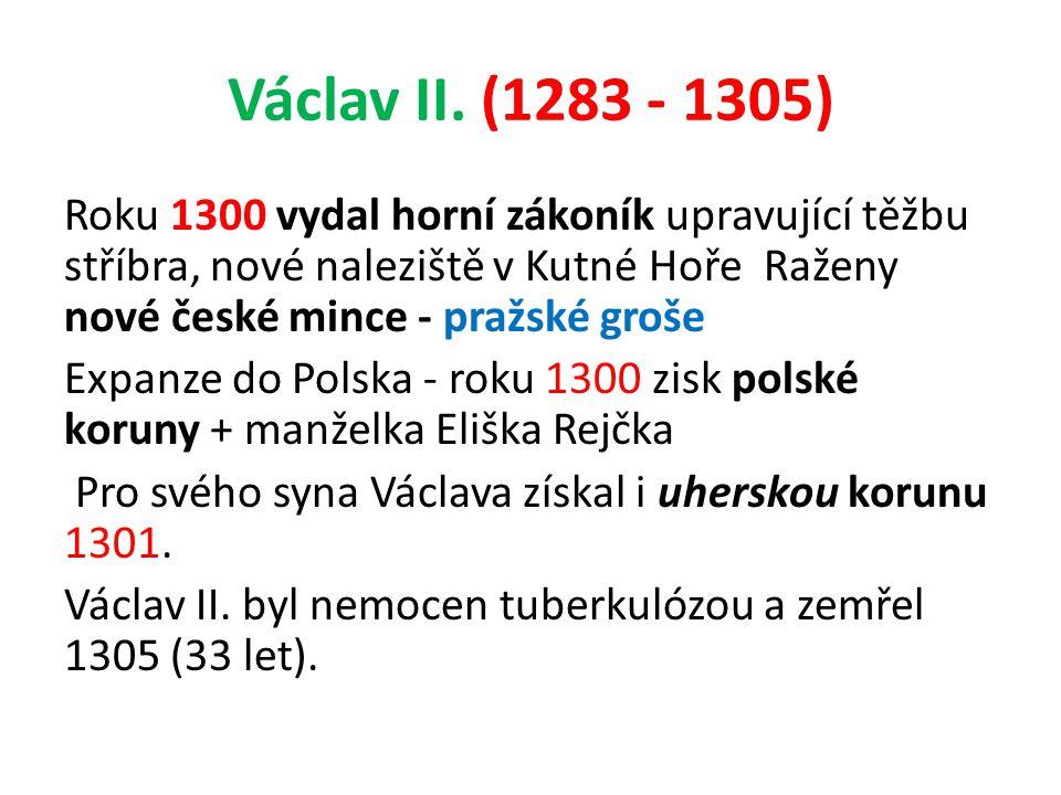 Václav II. (1283 - 1305) Roku 1300 vydal horní zákoník upravující těžbu stříbra, nové naleziště v Kutné Hoře Raženy nové české mince - pražské groše E