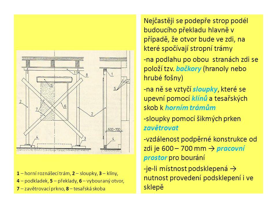 1 – horní roznášecí trám, 2 – sloupky, 3 – klíny, 4 – podkladek, 5 – překlady, 6 – vybouraný otvor, 7 – zavětrovací prkno, 8 – tesařská skoba Nejčastěji se podepře strop podél budoucího překladu hlavně v případě, že otvor bude ve zdi, na které spočívají stropní trámy -na podlahu po obou stranách zdi se položí tzv.