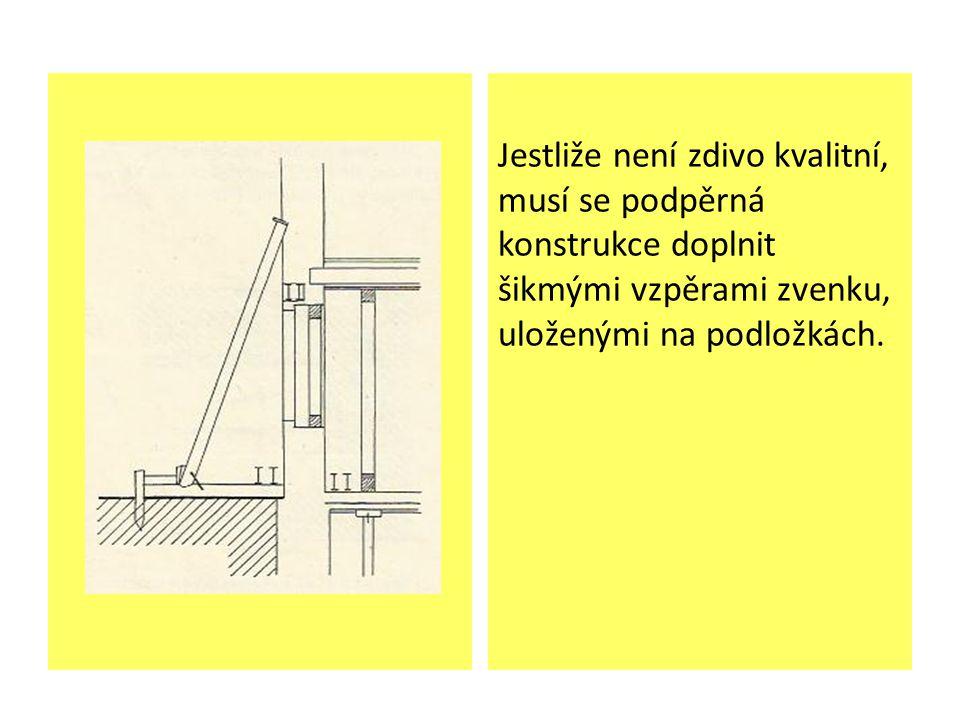 Jestliže není zdivo kvalitní, musí se podpěrná konstrukce doplnit šikmými vzpěrami zvenku, uloženými na podložkách.
