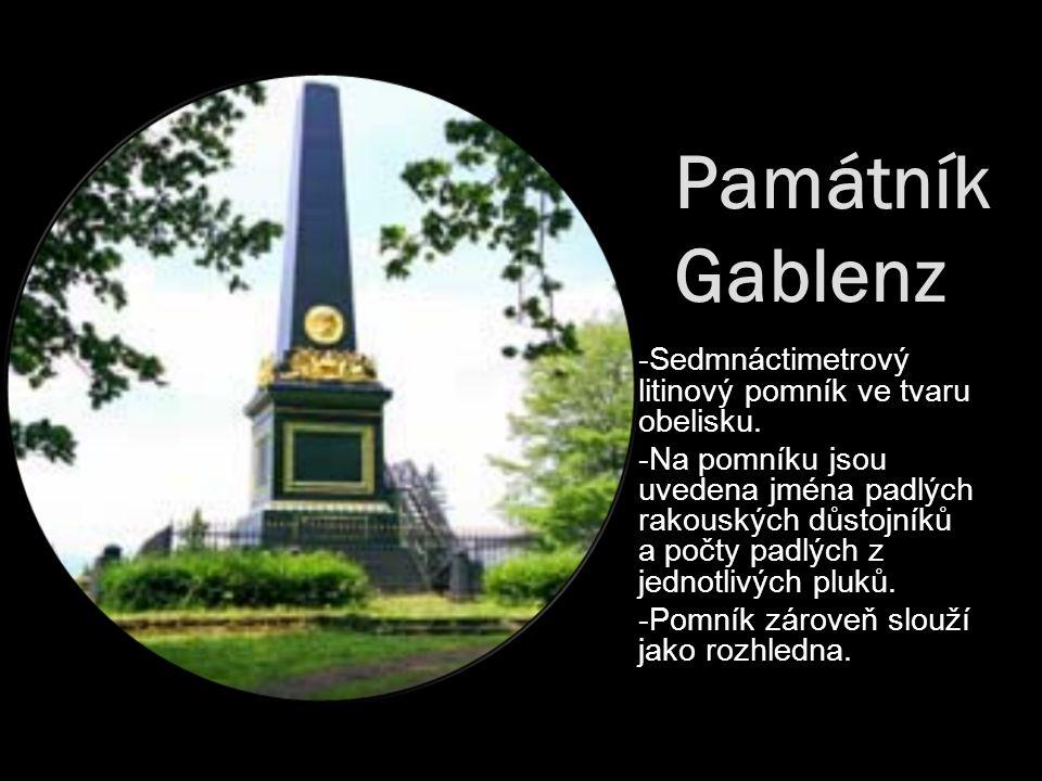 Památník Gablenz -Sedmnáctimetrový litinový pomník ve tvaru obelisku. -Na pomníku jsou uvedena jména padlých rakouských důstojníků a počty padlých z j