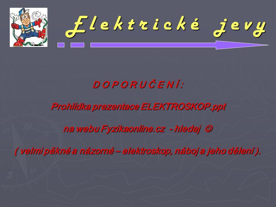 E l e k t r i c k é j e v y D O P O R U Č E N Í : Prohlídka prezentace ELEKTROSKOP.ppt na webu Fyzikaonline.cz - hledej na webu Fyzikaonline.cz - hled