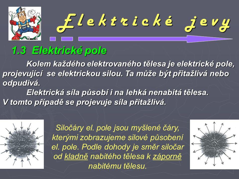 E l e k t r i c k é j e v y Kolem každého elektrovaného tělesa je elektrické pole, projevující se elektrickou silou. Ta může být přitažlivá nebo odpud