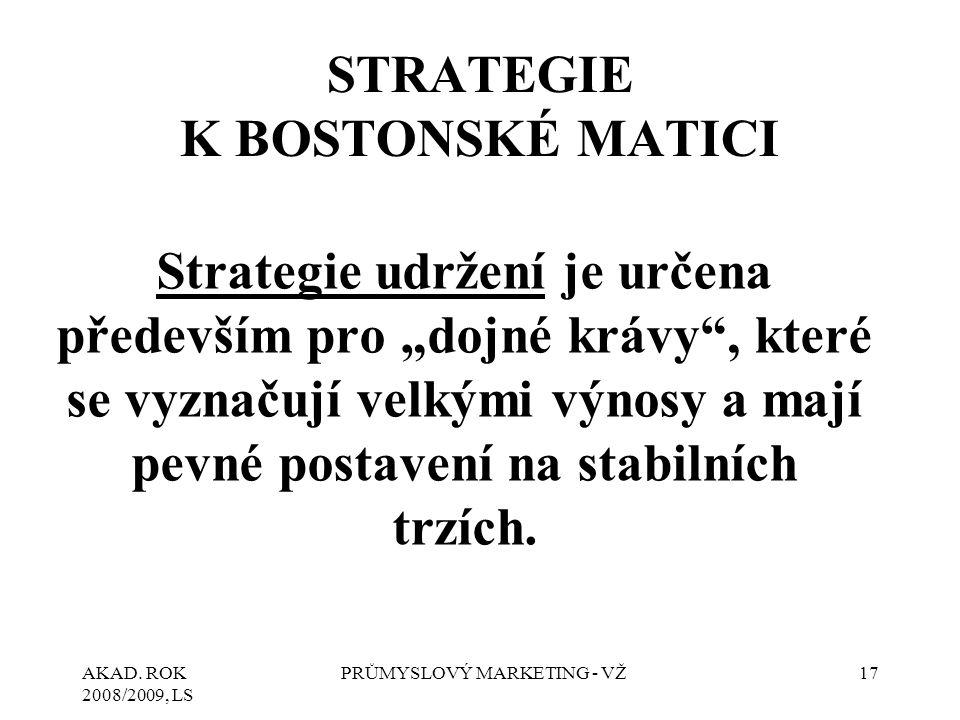 """AKAD. ROK 2008/2009, LS PRŮMYSLOVÝ MARKETING - VŽ17 STRATEGIE K BOSTONSKÉ MATICI Strategie udržení je určena především pro """"dojné krávy"""", které se vyz"""