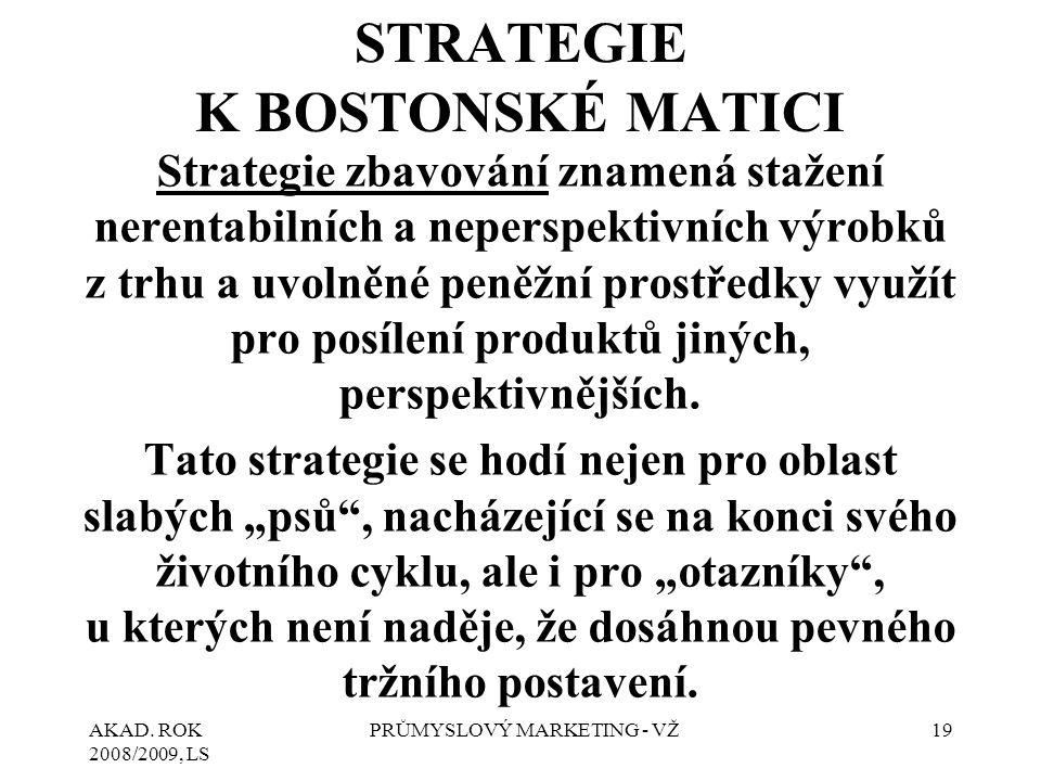 AKAD. ROK 2008/2009, LS PRŮMYSLOVÝ MARKETING - VŽ19 STRATEGIE K BOSTONSKÉ MATICI Strategie zbavování znamená stažení nerentabilních a neperspektivních