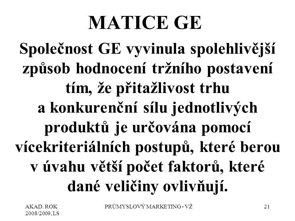 AKAD. ROK 2008/2009, LS PRŮMYSLOVÝ MARKETING - VŽ21 MATICE GE Společnost GE vyvinula spolehlivější způsob hodnocení tržního postavení tím, že přitažli
