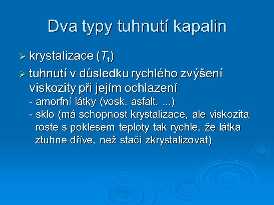 Dva typy tuhnutí kapalin  krystalizace (T t )  tuhnutí v důsledku rychlého zvýšení viskozity při jejím ochlazení - amorfní látky (vosk, asfalt,...)