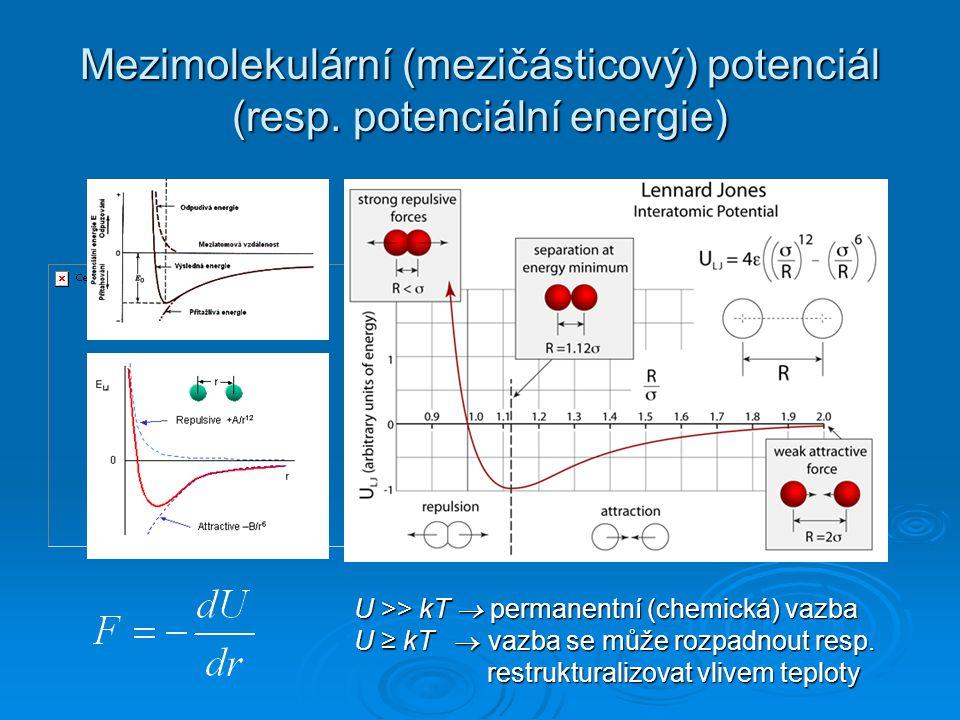 Mezimolekulární (mezičásticový) potenciál (resp. potenciální energie) U >> kT  permanentní (chemická) vazba U ≥ kT  vazba se může rozpadnout resp. r