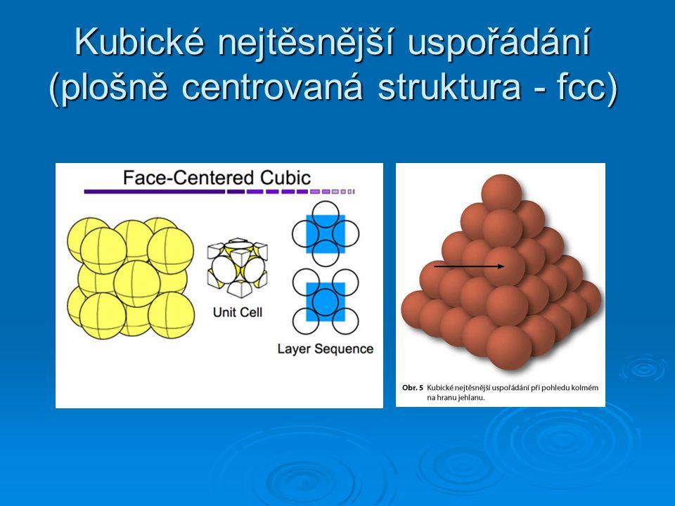 Kubické nejtěsnější uspořádání (plošně centrovaná struktura - fcc)
