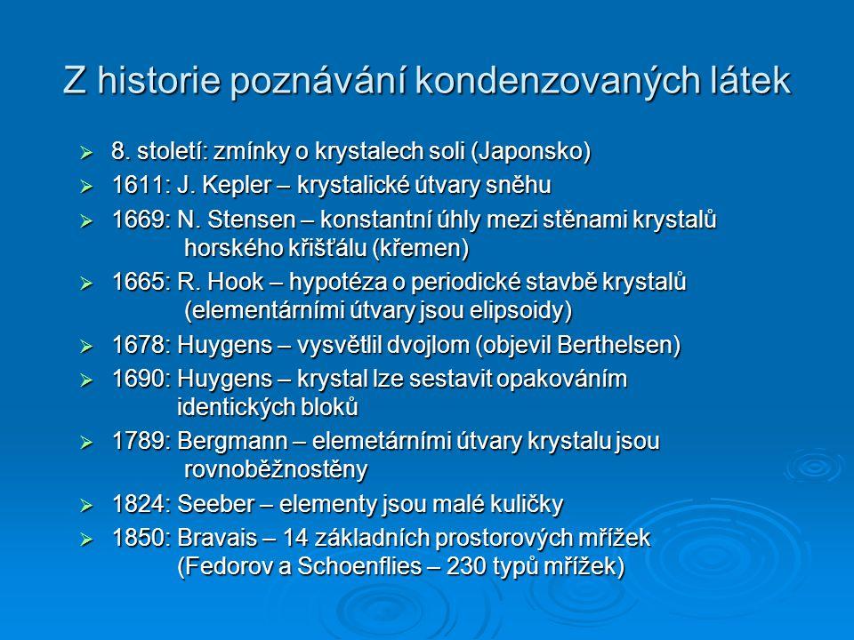 Z historie poznávání kondenzovaných látek  8. století: zmínky o krystalech soli (Japonsko)  1611: J. Kepler – krystalické útvary sněhu  1669: N. St