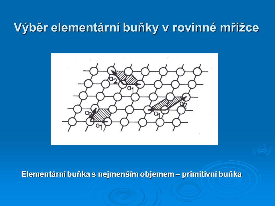 Výběr elementární buňky v rovinné mřížce Elementární buňka s nejmenším objemem – primitivní buňka
