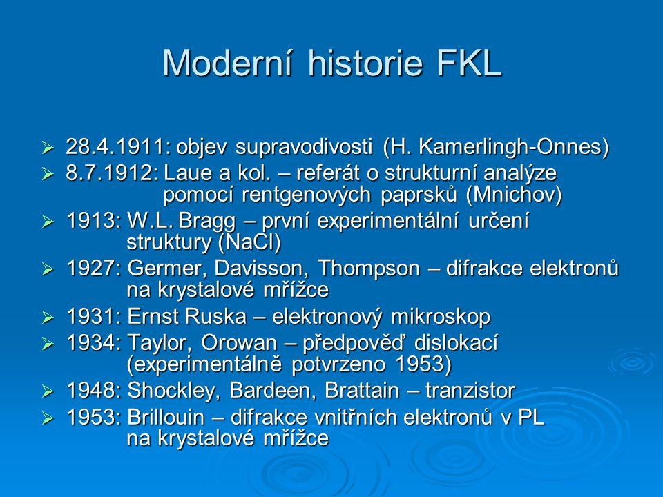 Moderní historie FKL  28.4.1911: objev supravodivosti (H. Kamerlingh-Onnes)  8.7.1912: Laue a kol. – referát o strukturní analýze pomocí rentgenovýc