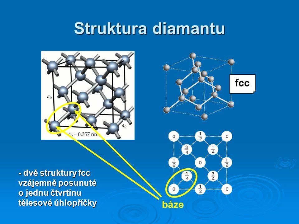 Struktura diamantu báze - dvě struktury fcc vzájemně posunuté o jednu čtvrtinu tělesové úhlopříčky fcc