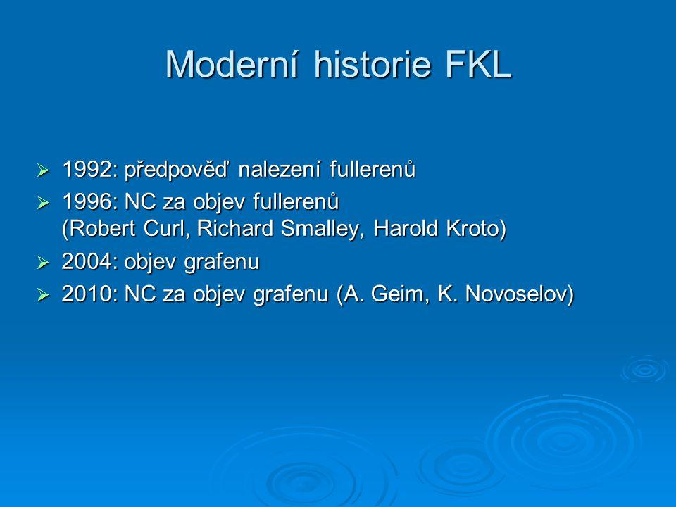 Moderní historie FKL  1992: předpověď nalezení fullerenů  1996: NC za objev fullerenů (Robert Curl, Richard Smalley, Harold Kroto)  2004: objev gra