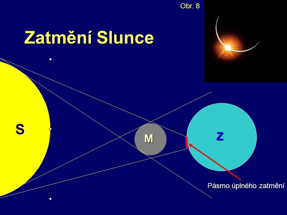 Zatmění Slunce Obr. 8S M Z Pásmo úplného zatmění