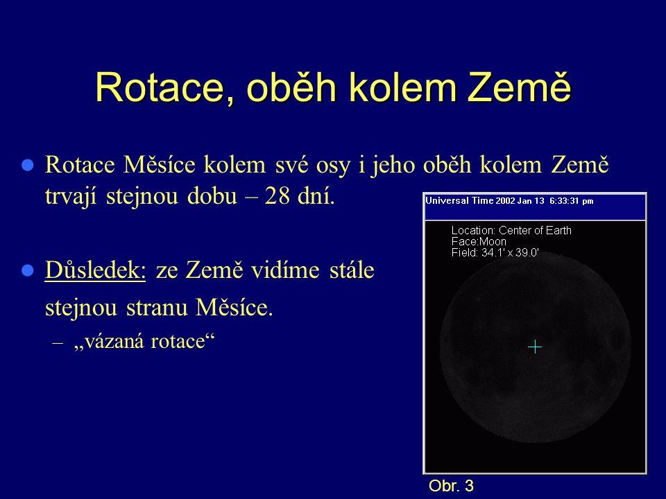 Rotace, oběh kolem Země Rotace Měsíce kolem své osy i jeho oběh kolem Země trvají stejnou dobu – 28 dní. Důsledek: ze Země vidíme stále stejnou stranu