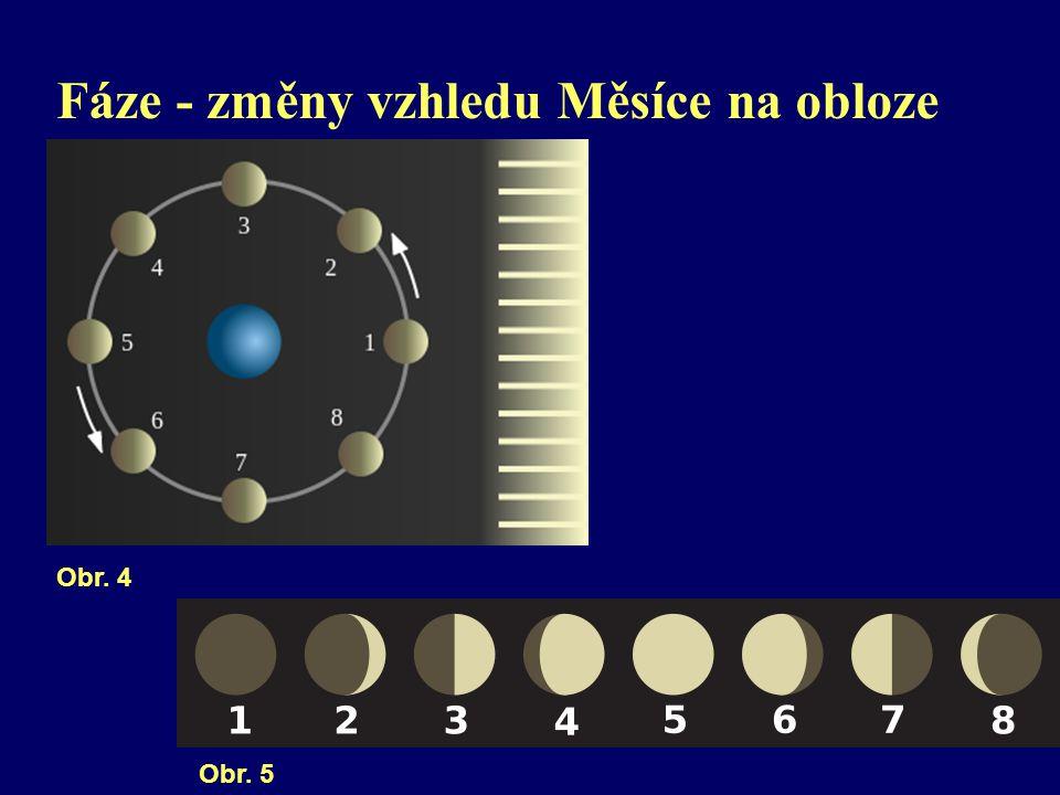 Fáze - změny vzhledu Měsíce na obloze Obr. 4 Obr. 5