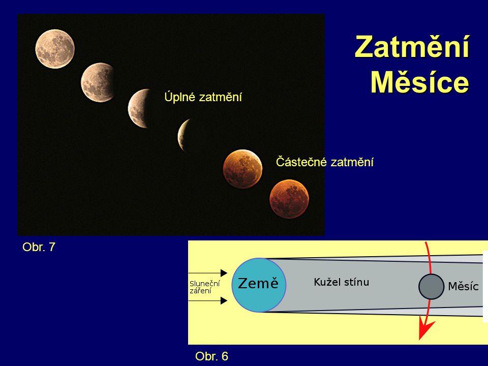Zatmění Měsíce Obr. 6 Obr. 7 Úplné zatmění Částečné zatmění