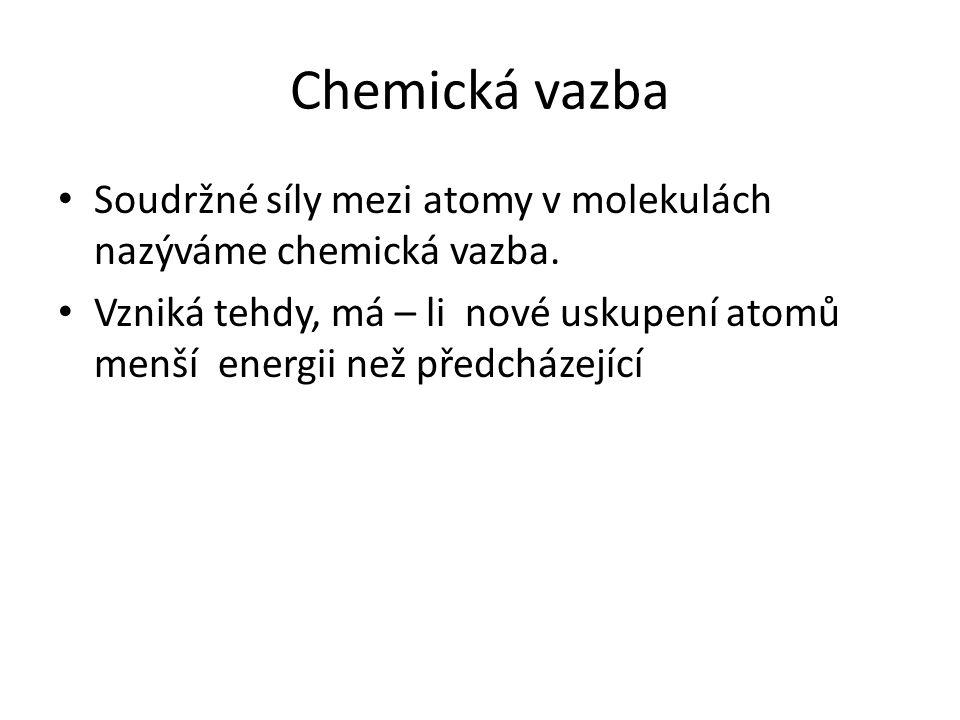 Chemická vazba Soudržné síly mezi atomy v molekulách nazýváme chemická vazba. Vzniká tehdy, má – li nové uskupení atomů menší energii než předcházejíc