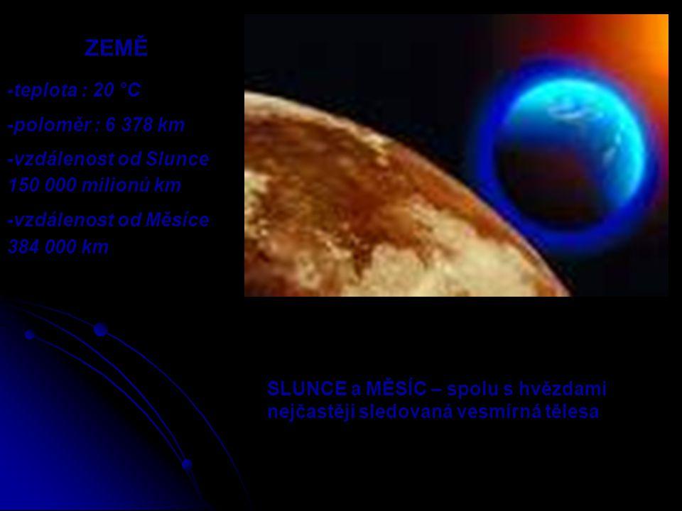 SLUNCE a MĚSÍC – spolu s hvězdami nejčastěji sledovaná vesmírná tělesa ZEMĚ -teplota : 20 °C -poloměr : 6 378 km -vzdálenost od Slunce 150 000 milionů