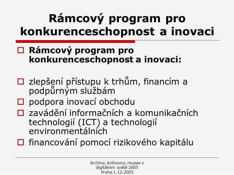 Archivy, knihovny, muzea v digitálním světě 2005 Praha 1.12.2005 Rámcový program pro konkurenceschopnost a inovaci  Rámcový program pro konkurenceschopnost a inovaci:  zlepšení přístupu k trhům, financím a podpůrným službám  podpora inovací obchodu  zavádění informačních a komunikačních technologií (ICT) a technologií environmentálních  financování pomocí rizikového kapitálu