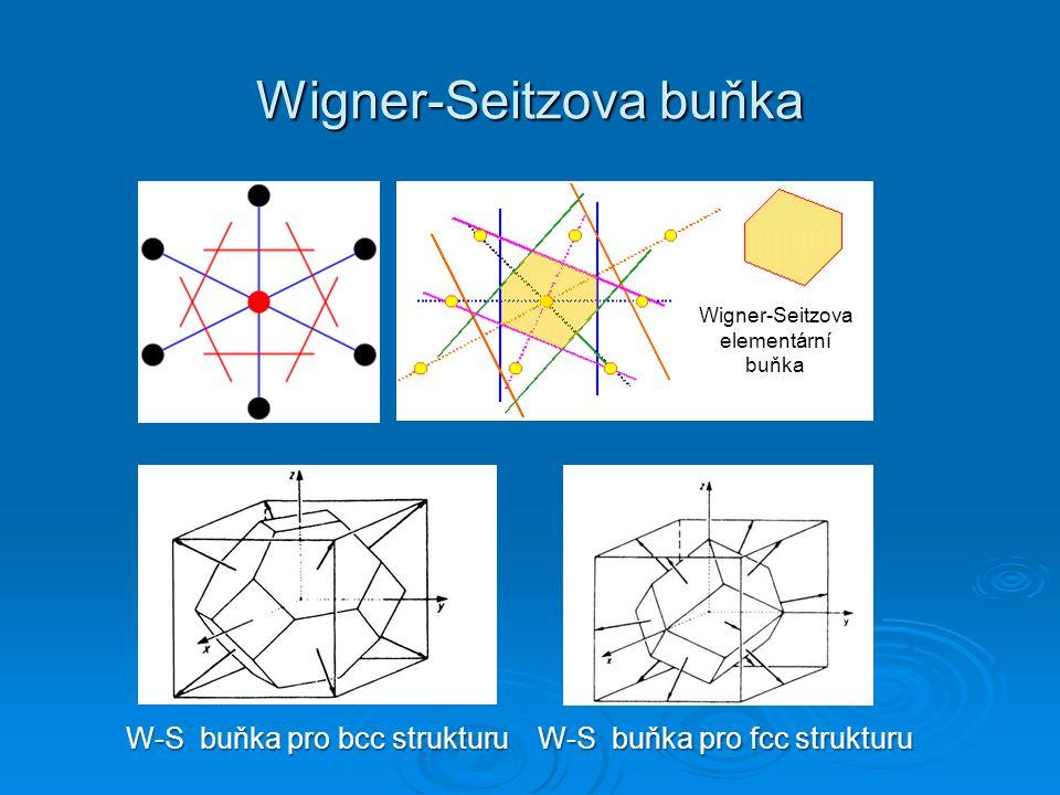Wigner-Seitzova buňka W-S buňka pro bcc strukturu W-S buňka pro fcc strukturu Wigner-Seitzova elementární buňka