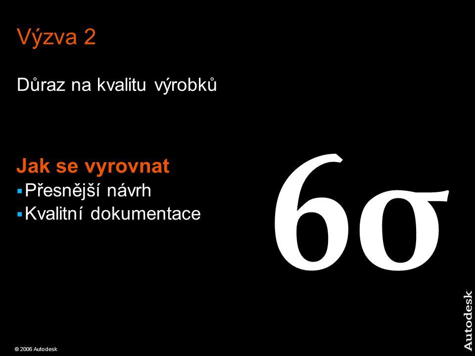 © 2006 Autodesk Výzva 2 Důraz na kvalitu výrobků Jak se vyrovnat  Přesnější návrh  Kvalitní dokumentace 6σ6σ