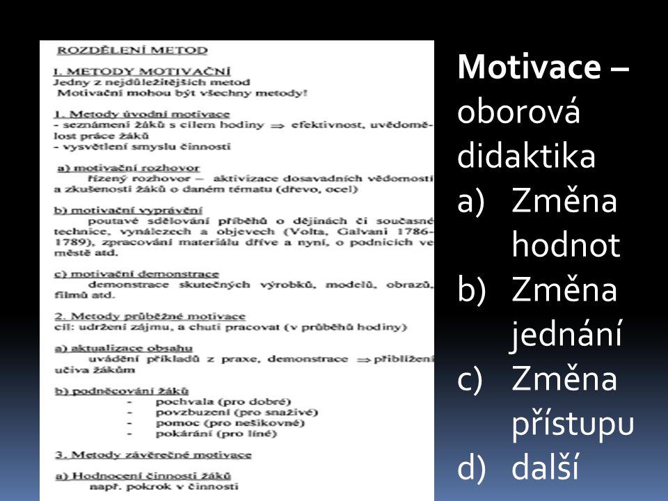 Motivace – oborová didaktika a)Změna hodnot b)Změna jednání c)Změna přístupu d)další