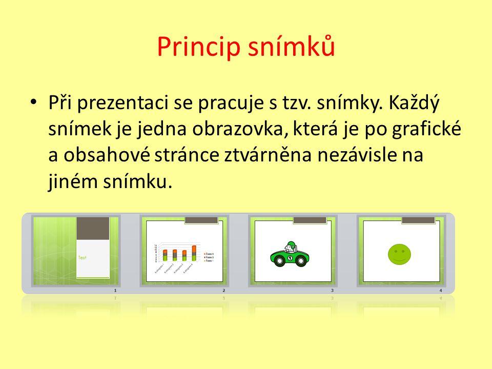 Princip snímků Při prezentaci se pracuje s tzv. snímky.