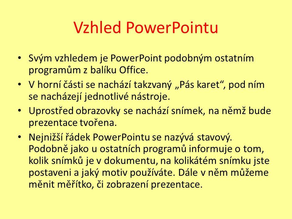 Vzhled PowerPointu Svým vzhledem je PowerPoint podobným ostatním programům z balíku Office.