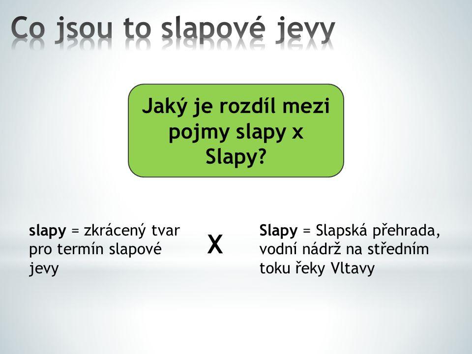 Jaký je rozdíl mezi pojmy slapy x Slapy? slapy = zkrácený tvar pro termín slapové jevy Slapy = Slapská přehrada, vodní nádrž na středním toku řeky Vlt