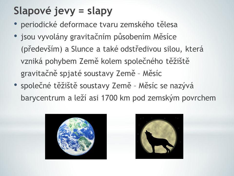 Slapové jevy = slapy periodické deformace tvaru zemského tělesa jsou vyvolány gravitačním působením Měsíce (především) a Slunce a také odstředivou sil