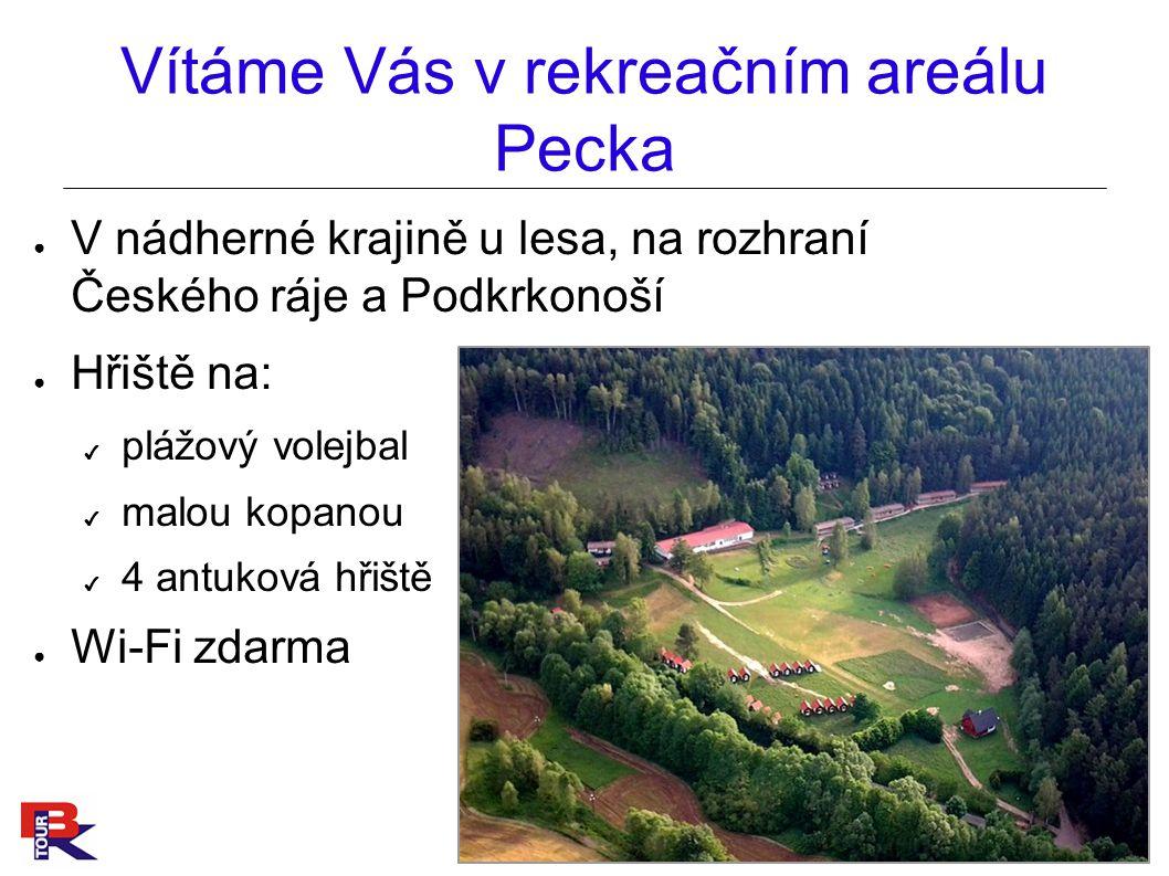 Vítáme Vás v rekreačním areálu Pecka ● V nádherné krajině u lesa, na rozhraní Českého ráje a Podkrkonoší ● Hřiště na: ✔ plážový volejbal ✔ malou kopanou ✔ 4 antuková hřiště ● Wi-Fi zdarma