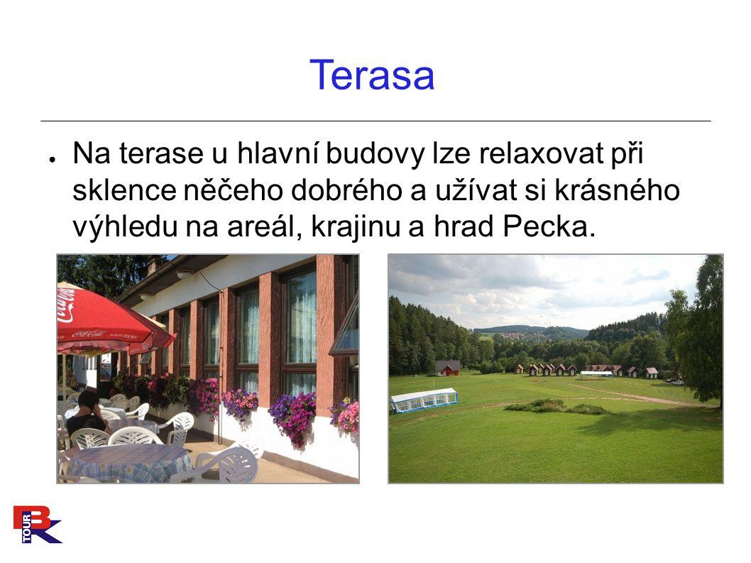 Terasa ● Na terase u hlavní budovy lze relaxovat při sklence něčeho dobrého a užívat si krásného výhledu na areál, krajinu a hrad Pecka.