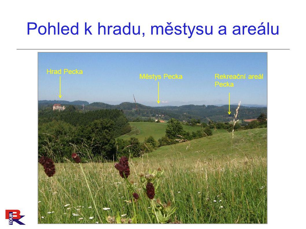 Pohled k hradu, městysu a areálu Hrad Pecka Rekreační areál Pecka Městys Pecka