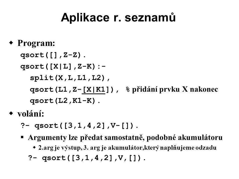 Aplikace r.seznamů  Program: qsort([],Z-Z).