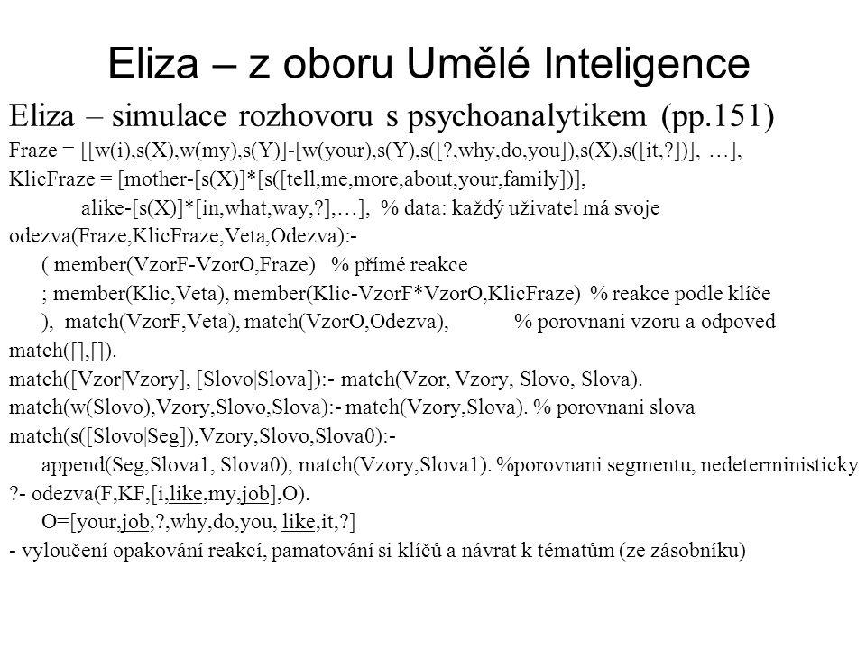 Eliza – z oboru Umělé Inteligence Eliza – simulace rozhovoru s psychoanalytikem (pp.151) Fraze = [[w(i),s(X),w(my),s(Y)]-[w(your),s(Y),s([?,why,do,you]),s(X),s([it,?])], …], KlicFraze = [mother-[s(X)]*[s([tell,me,more,about,your,family])], alike-[s(X)]*[in,what,way,?],…], % data: každý uživatel má svoje odezva(Fraze,KlicFraze,Veta,Odezva):- ( member(VzorF-VzorO,Fraze) % přímé reakce ; member(Klic,Veta), member(Klic-VzorF*VzorO,KlicFraze) % reakce podle klíče ), match(VzorF,Veta), match(VzorO,Odezva),% porovnani vzoru a odpoved match([],[]).