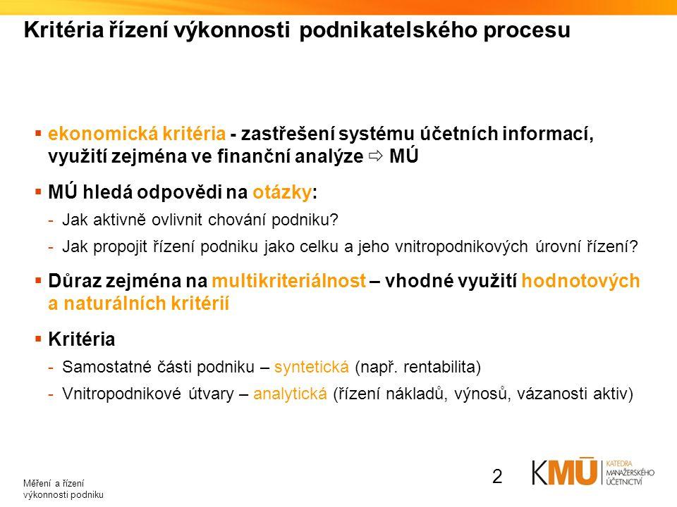 Kritéria řízení výkonnosti podnikatelského procesu  ekonomická kritéria - zastřešení systému účetních informací, využití zejména ve finanční analýze