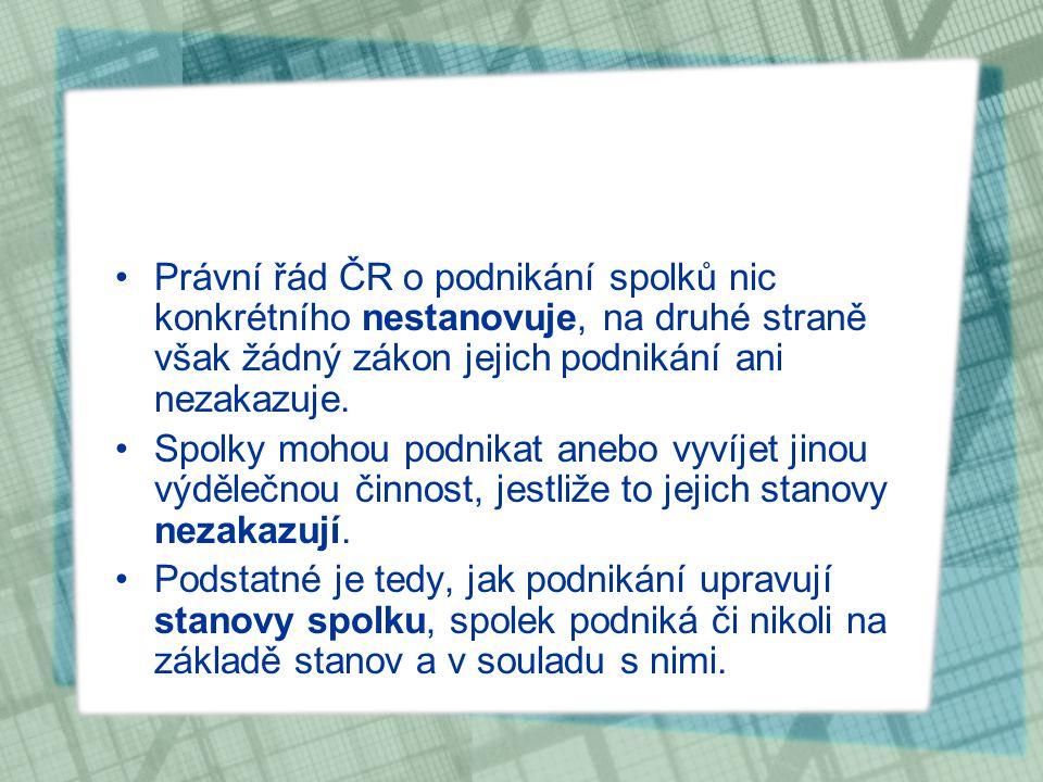 Právní řád ČR o podnikání spolků nic konkrétního nestanovuje, na druhé straně však žádný zákon jejich podnikání ani nezakazuje. Spolky mohou podnikat