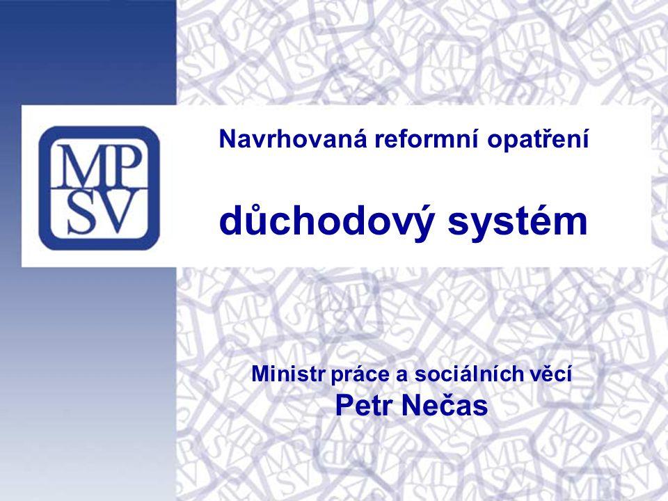 Navrhovaná reformní opatření důchodový systém Ministr práce a sociálních věcí Petr Nečas
