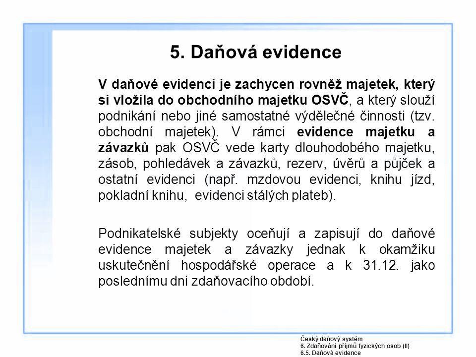 5. Daňová evidence V daňové evidenci je zachycen rovněž majetek, který si vložila do obchodního majetku OSVČ, a který slouží podnikání nebo jiné samos