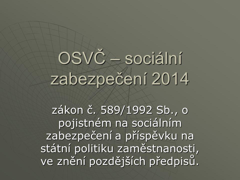 Shrnutí pojistného OSVČ Vyměřovací základ Sazba Min.