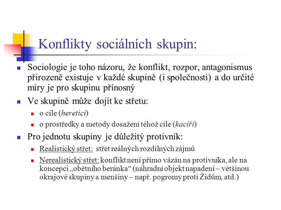 """Konflikty sociálních skupin: Sociologie je toho názoru, že konflikt, rozpor, antagonismus přirozeně existuje v každé skupině (i společnosti) a do určité míry je pro skupinu přínosný Ve skupině může dojít ke střetu: o cíle (heretici) o prostředky a metody dosažení téhož cíle (kacíři) Pro jednotu skupiny je důležitý protivník: Realistický střet: střet reálných rozdílných zájmů Nerealistický střet: konflikt není přímo vázán na protivníka, ale na koncepci """"obětního beránka (náhradní objekt napadení – většinou okrajové skupiny a menšiny – např."""