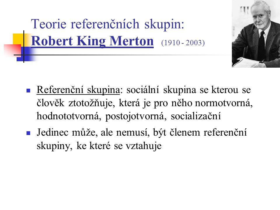 Teorie referenčních skupin: Robert King Merton (1910 - 2003) Referenční skupina: sociální skupina se kterou se člověk ztotožňuje, která je pro něho normotvorná, hodnototvorná, postojotvorná, socializační Jedinec může, ale nemusí, být členem referenční skupiny, ke které se vztahuje