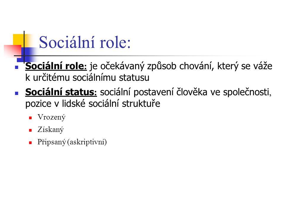 Sociální role: Sociální role : je očekávaný způsob chování, který se váže k určitému sociálnímu statusu Sociální status : sociální postavení člověka ve společnosti, pozice v lidské sociální struktuře Vrozený Získaný Připsaný (askriptivní)
