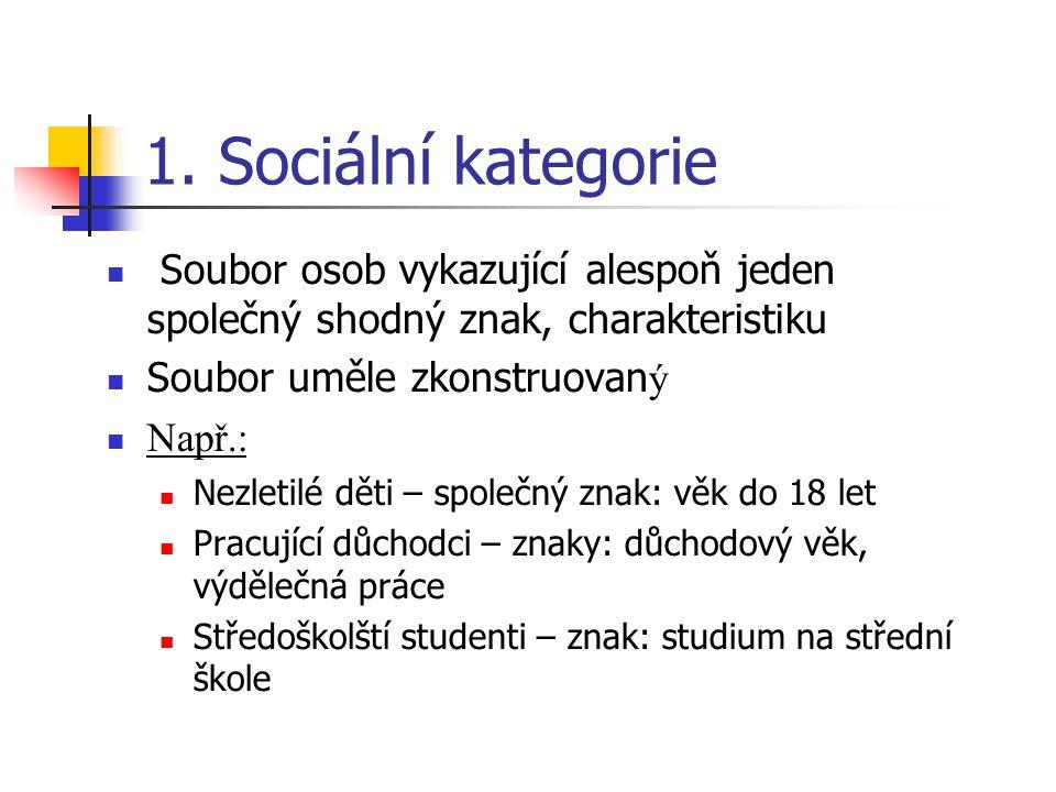 1. Sociální kategorie Soubor osob vykazující alespoň jeden společný shodný znak, charakteristiku Soubor uměle zkonstruovan ý Např.: Nezletilé děti – s