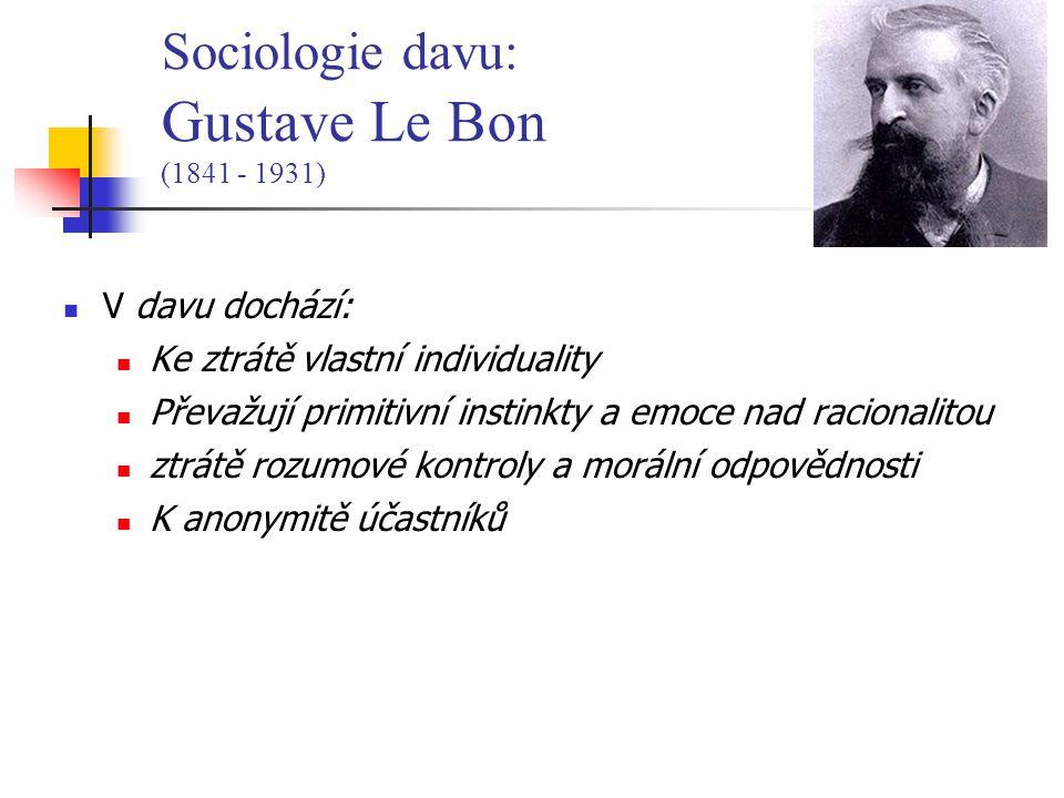 V davu dochází: Ke ztrátě vlastní individuality Převažují primitivní instinkty a emoce nad racionalitou ztrátě rozumové kontroly a morální odpovědnosti K anonymitě účastníků