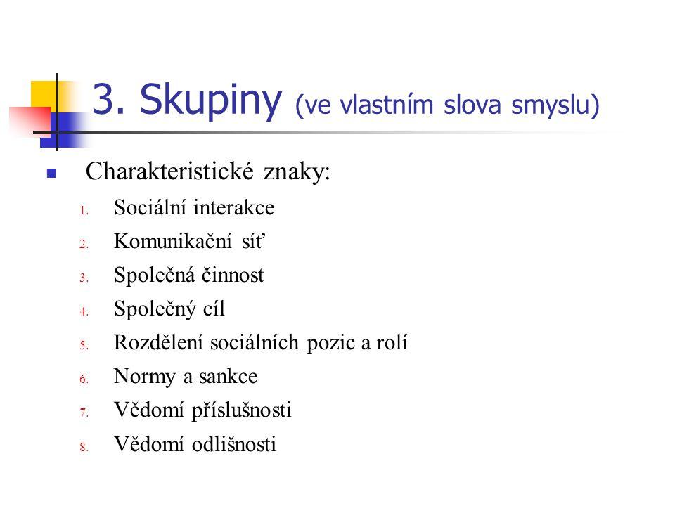 3.Skupiny (ve vlastním slova smyslu) Charakteristické znaky: 1.