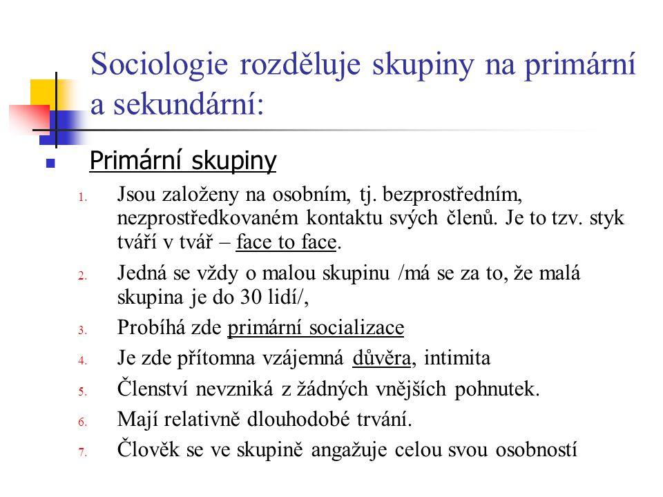 Sociologie rozděluje skupiny na primární a sekundární: Primární skupiny 1. Jsou založeny na osobním, tj. bezprostředním, nezprostředkovaném kontaktu s