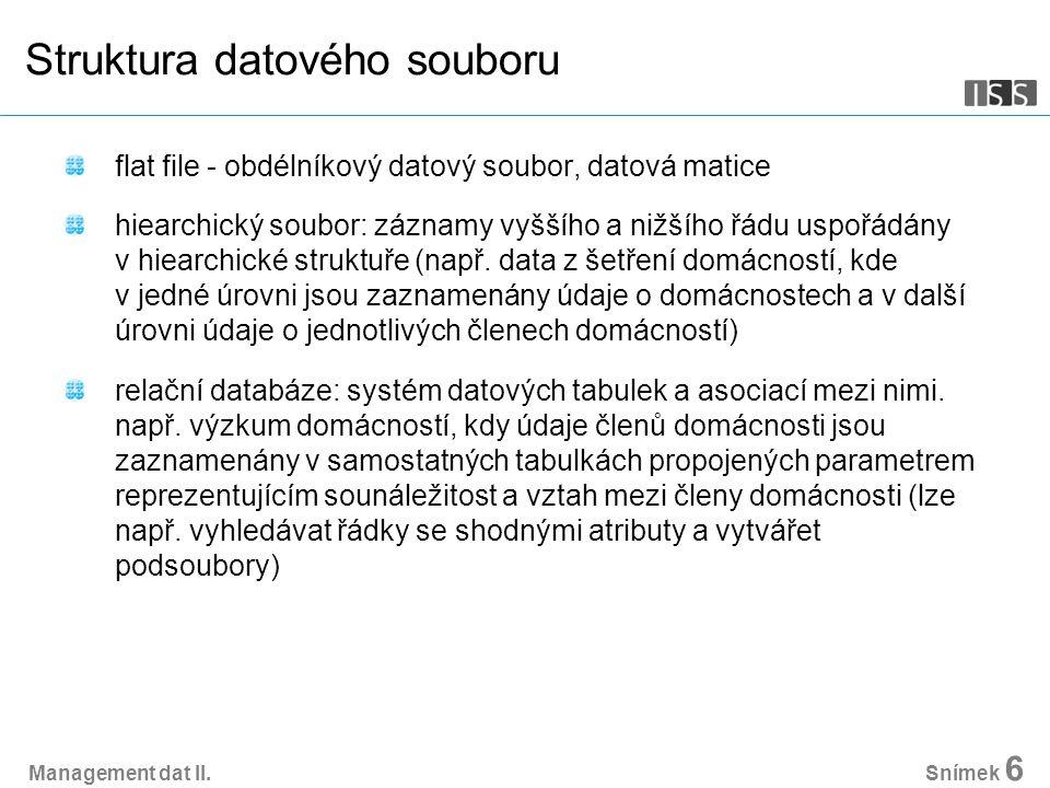 Management dat II. Snímek 6 Struktura datového souboru flat file - obdélníkový datový soubor, datová matice hiearchický soubor: záznamy vyššího a nižš